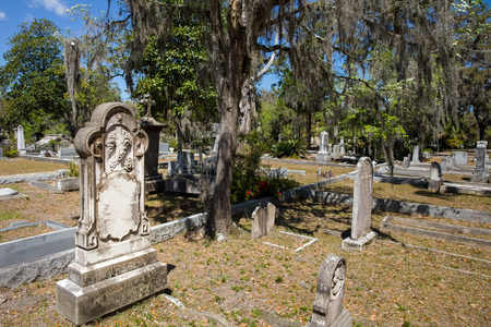 Historic Bonaventure Cemetery in Savannah, GA.  Names and dates have been removed from the photo.