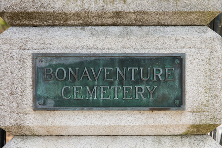 Entrance sign at historic Bonaventure Cemetery in Savannah, Georgia.  The public cemetery is famous for being featured in the book and movie Stock Photo