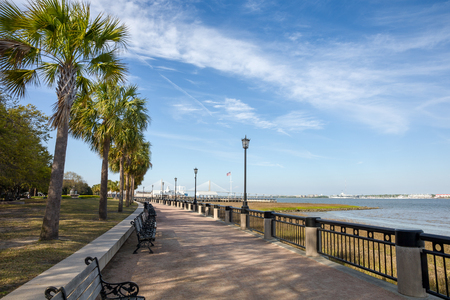 View of Waterfront Park in Charleston, SC.  Plenty of copy space in the sky if needed. Stock Photo