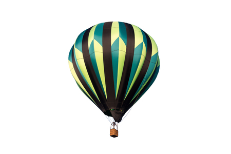 Colorful hot air balloon isolated on a white background.  Classic balloon design with lots of detail.
