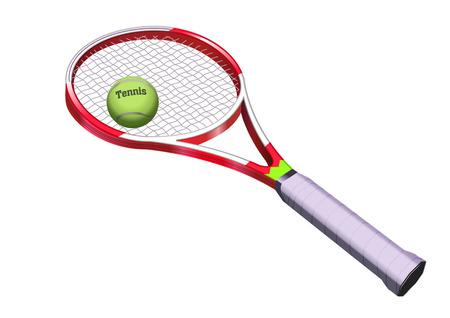 raquet: tennis bat and ball