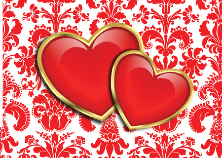 HEARTS ON DAMASK  Vector