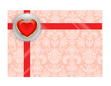 VALENTINE HEART WITH RIBBON Vector