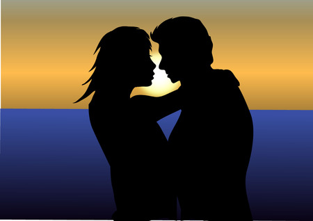 COUPLE IN SUNSET Vector