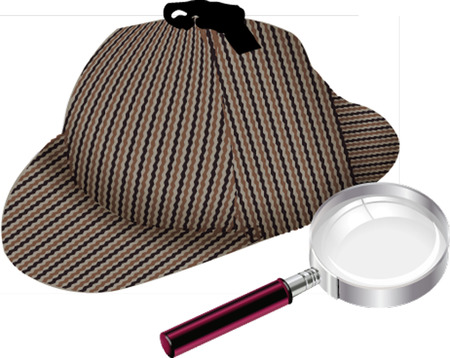 hat and magnifier glass