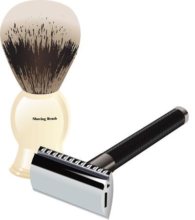 shaving brush: SHAVING BRUSH AND RAZOR