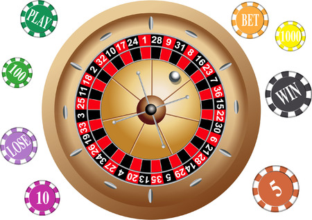 ROULETTE GAMBLING WHEEL WITH CHIPS Vector