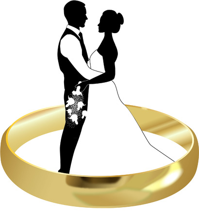 WEDDING RING AND BRIDE AND GROOM Vector