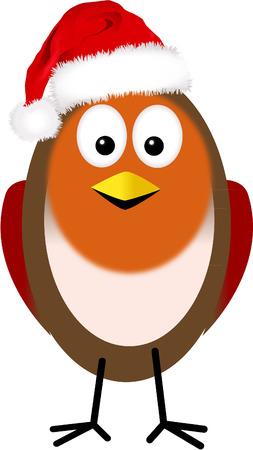 robin with santa hat Vector