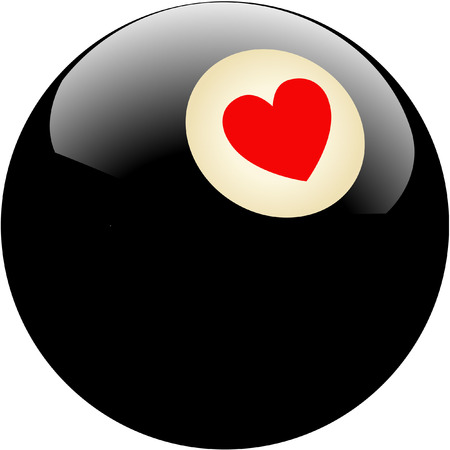 pool ball with heart Vector