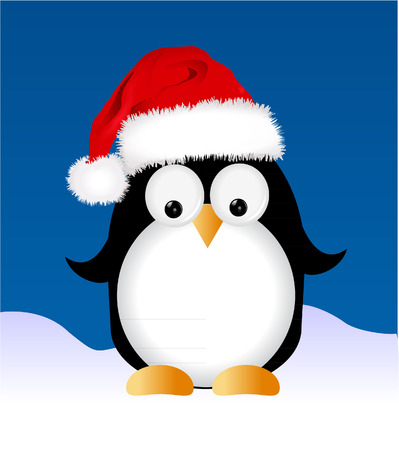 penguin in snow Vector