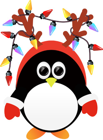 penguin with christmas lights Vector
