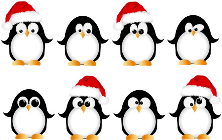 christmas penguins Vector