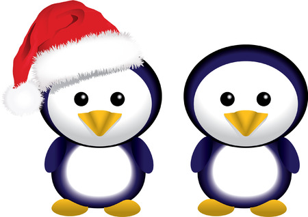 two christmas penguins with santa hat Vector