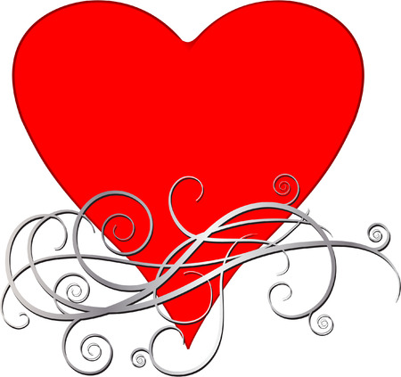 heart with scroll Vector