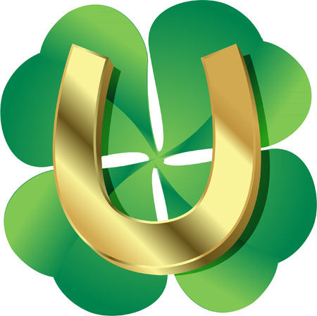 good luck charm: lucky clover with gold horseshoe Illustration