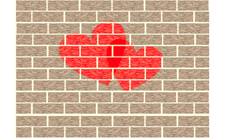 love brick wall Vector