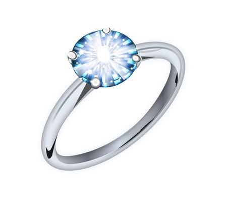 anillo de diamantes  Ilustración de vector