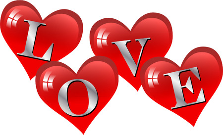 love lettering with hearts Vector