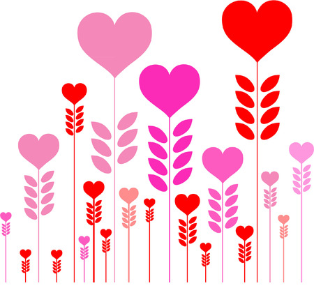 infatuation: pink and red hearts