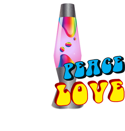 love and peace lava lamp Vector