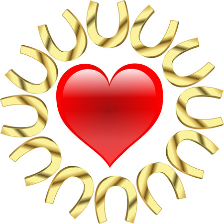 hearts with horseshoes Vector