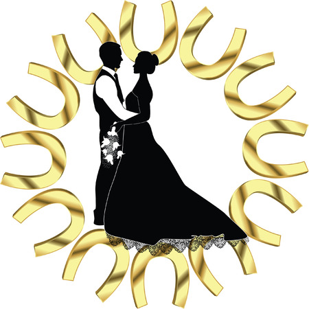 BRIDE AND GROOM WITH GOLD HORSESHOE FRAME photo