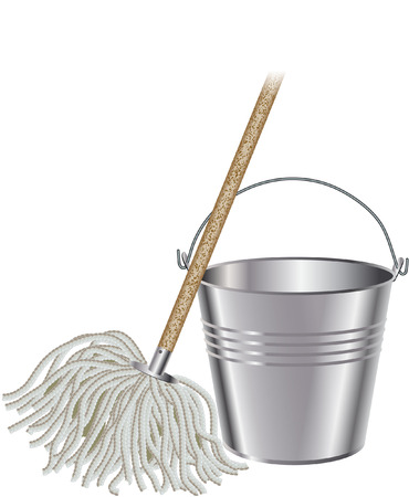 mopping: mop and bucket