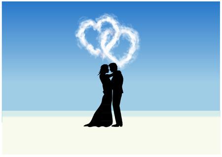 Plage couple avec des nuages ??de coeur Banque d'images - 27669524