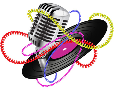 music with mic and record Illustration