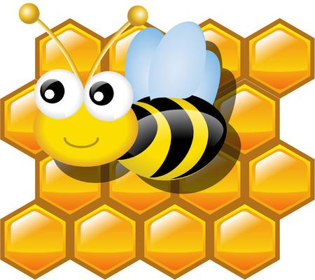 bee on white flower: honey and honey bee Illustration