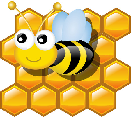 honey and honey bee Vector