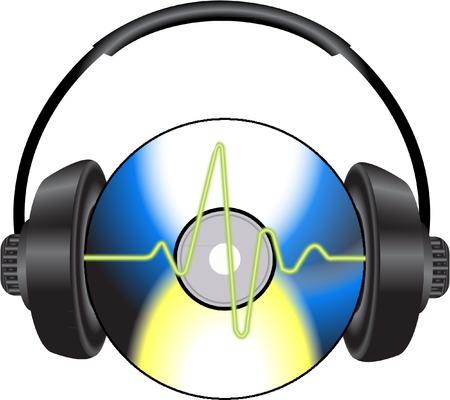CD 및 헤드폰으로 음악 일러스트