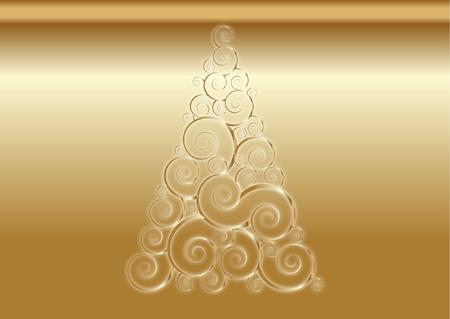 gold christmas tree background Illustration
