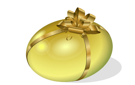 gold easter egg with bow Vector