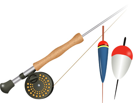fishing rod and floats Vector