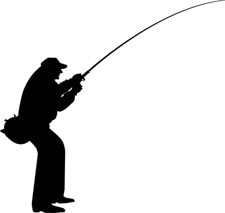 trout fishing: fisherman silhouette