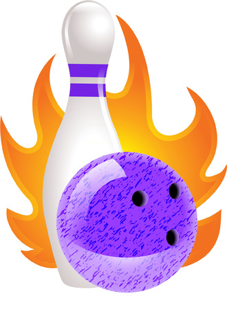 kegelen: bowling bal en kegel Stock Illustratie
