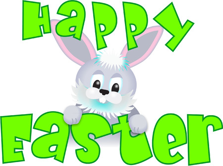 rabit: FUNNY EASTER BUNNY WITH MESSAGE Illustration