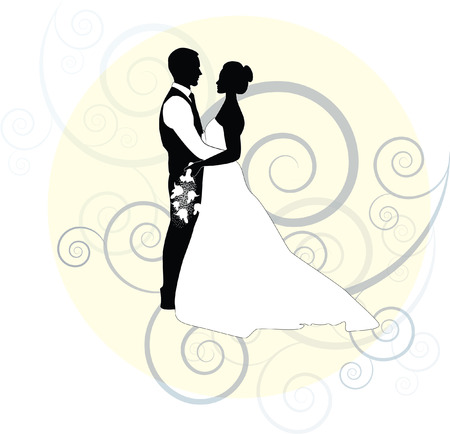 bride and groom with swirl and frame Çizim