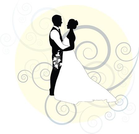 recien casados: novia y el novio con el remolino y el marco