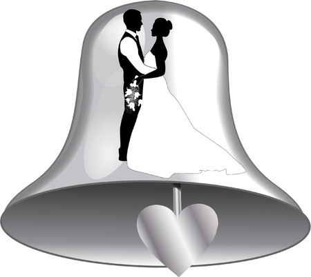 congratulating: wedding bell with bride and groom