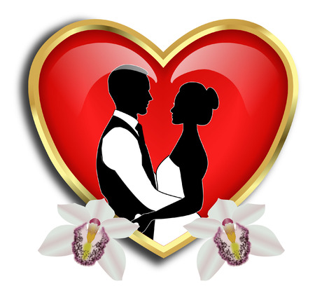 BRIDE AND GROOM WITH GOLD heart FRAME Vector