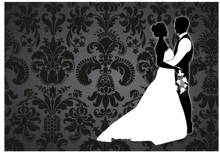 BRIDE AND GROOM WITH damask background Vector