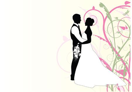 recien casados: par de la boda con el fondo del remolino