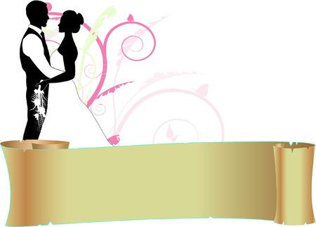 wwedding couple with scroll Vector