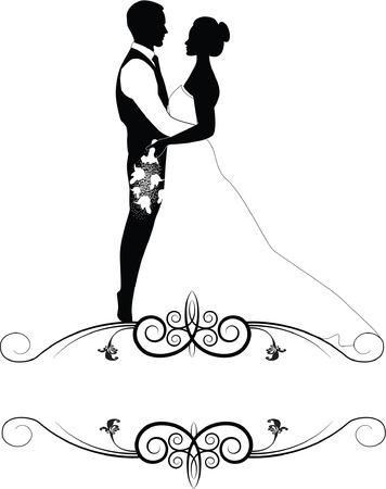 casal de noivos em quadro Ilustração