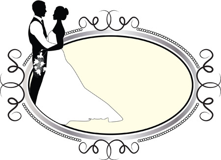 wedding couple in oval frame Vector