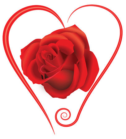 heart with rose Vector