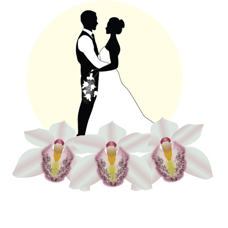 wedding couple with orchids Vector
